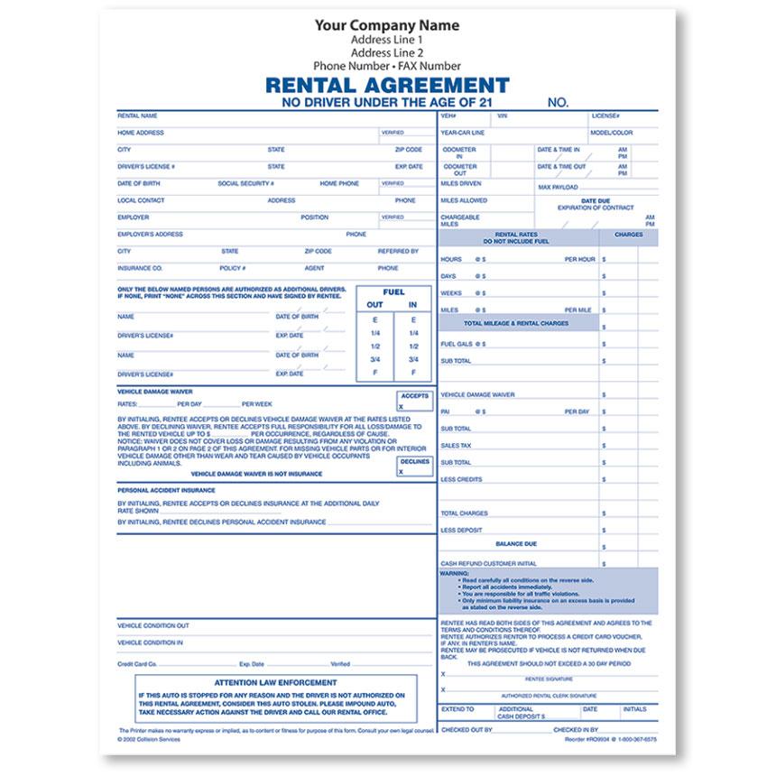 Rental Agreement Form, 3-Part - (250)