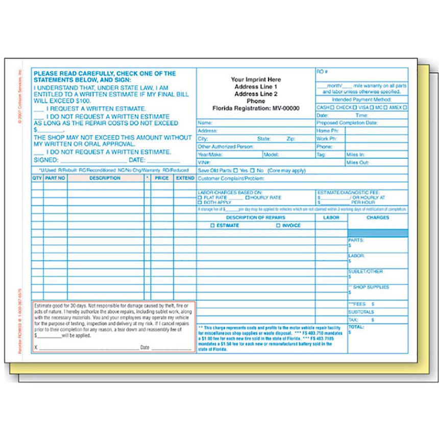 Repair Order - Florida State Compliant, 3-Part (250)