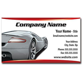 Full-Color Auto Repair Business Cards - Silver Rear View