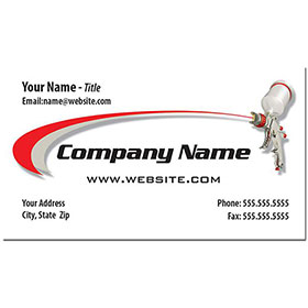 Full-Color Auto Repair Business Cards - Spray Gun Gray & Red