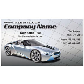 Full-Color Auto Repair Business Cards - Silver Gridline
