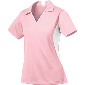 S/T Sport Ladies Side Blocked Micropique V-Neck Polo Shirt