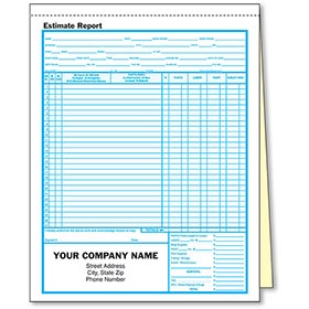 2-Part Auto Body Estimate Forms
