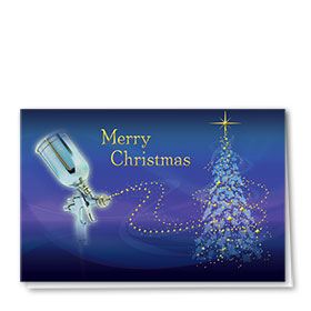 Clearance - Personalized Premium Foil Holiday Card -Twilight Spray