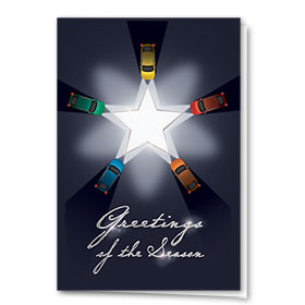 Personalized Premium Foil Auto Holiday Cards - Star Greetings