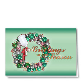 Personalized Premium Foil Auto Holiday Cards - Emerald Garland