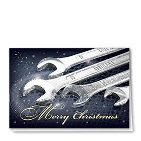 Personalized Premium Foil Auto Holiday Cards - Whimsical Wrenches