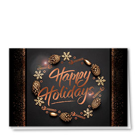 Personalized Premium Foil Auto Holiday Cards - Copper Wreath