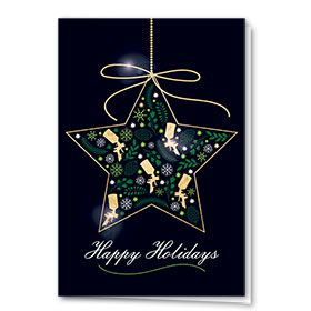 Personalized Premium Foil Holiday Cards - Star Filigree