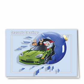 Personalized Deluxe Full-Color Holiday Cards - Santa Sports Car