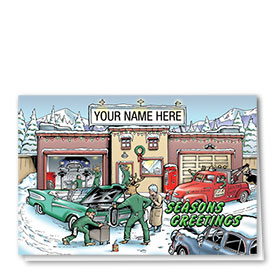 Double Personalized Full-Color Holiday Cards - Reindeer Auto Shop