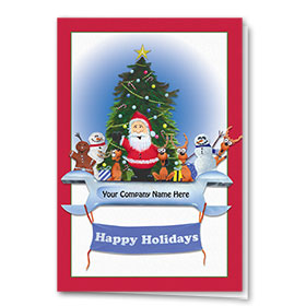Double Personalized Full-Color Holiday Cards - Wrench Tree Skirt