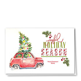 Double Personalized Full-Color Holiday Cards - Tree Delivery