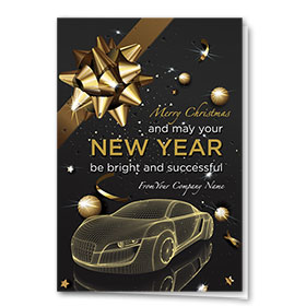 Double Personalized Full-Color Holiday Cards - Golden Confetti