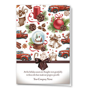 Double Personalized Full-Color Holiday Cards - Holiday Spice