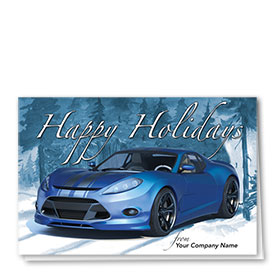 Double Personalized Full-Color Holiday Cards - Snowcovered Holiday