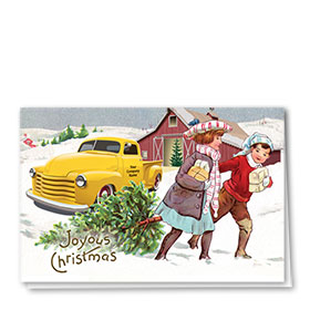 Double Personalized Full-Color Holiday Cards - Christmas Tradition