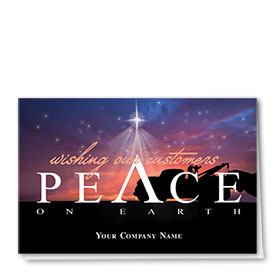 Double Personalized Full-Color Holiday Cards - Peaceful Tow