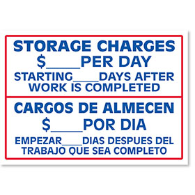 Clearance - Storage Charges Bilingual