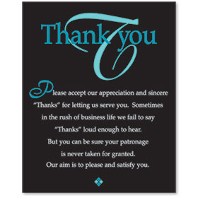 Acrylic Office Sign - Thank You