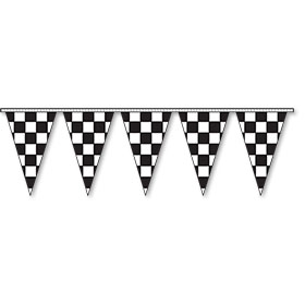 Triangular Pennant Strings - Checkered Flag