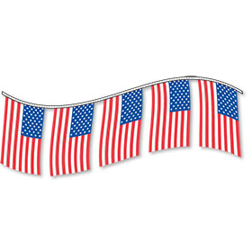 Rectangular Pennant Strings - USA Flag