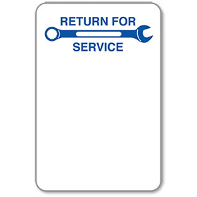 Auto Body Return for Service Stickers - Blue Wrench