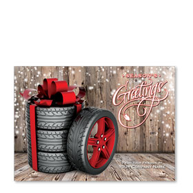 Double Personalized Full-Color Holiday Postcard - Winter Wheels