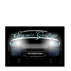 Double Personalized Full-Color Holiday Postcard - Black Ice