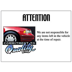 Commitment to Quality Signs - Attention