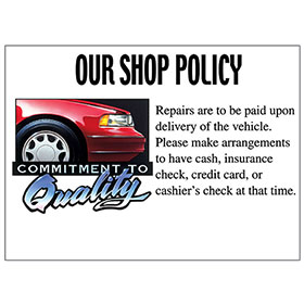 Commitment to Quality Signs - Shop Policy