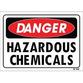 "Shop Sign – Hazardous Chemicals 14"" x 10"""