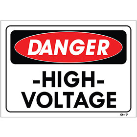 "Auto Shop Signs - Danger High Voltage - 10"" x 14"""