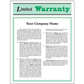 Auto Repair Warranty Forms - Green (250)
