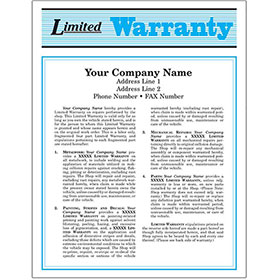 Auto Repair Warranty Forms - Blue, 2-Part (250)