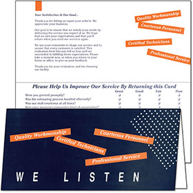 Customer Satisfaction Response Card  - We Listen
