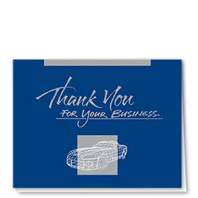 UPDATED- Auto Repair Thank You Cards - Blue & Silver Wire Frame