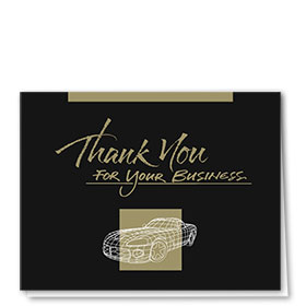 UPDATED - Auto Repair Thank You Cards  - Black & Gold Wire Frame