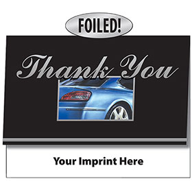 Auto Repair Thank You Cards - Rear View Blue, Silver Foil