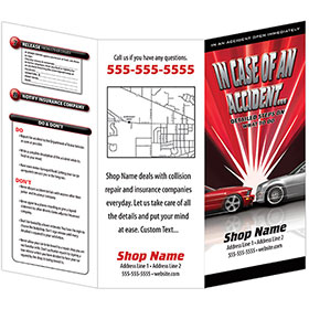 Auto Repair Brochures - In Case of An Accident, Flash