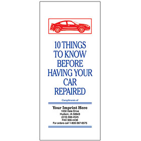 "Auto Repair Brochures - ""10 Things To Know"" (red, white, blue)"