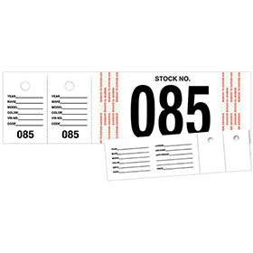 Vehicle Stock Number Tags (500)