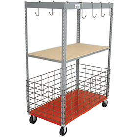 "Parts Caddy Wood Shelf & 12"" Basket"
