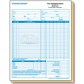 Basic Auto Repair Estimate Forms - Damage Report, 3-Part, 2-Color