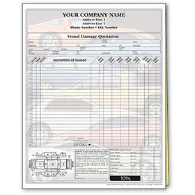 Auto Repair Estimate Forms - Stacked Cars Screen, 2-Part, Full-Color