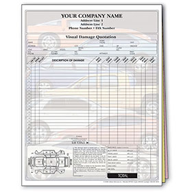 Auto Repair Estimate Forms - Stacked Cars Screen, 3-Part, Full-Color