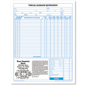 Basic Auto Repair Estimate Forms - Visual Damage Quotation, 2-Part, Carbonless