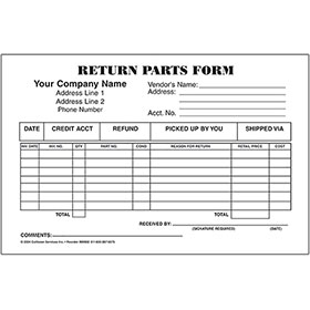 Return Parts Form, Three-Part