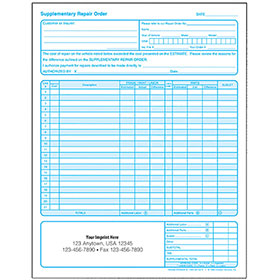 Auto Repair Supplement Request Forms - 2-Part