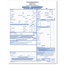3-Part Rental Agreement Form (250)